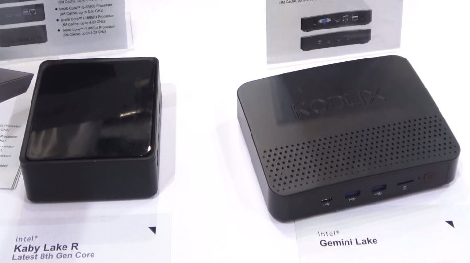 Latest fanless mini PC's KODLIX Gemini Lake and a NUC include Kaby Lake-R